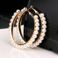 GOLD PLATED HOOP EARRINGS WITH PEARLS 6CMS HIGH QUALITY SENT IN A VELVET BAG