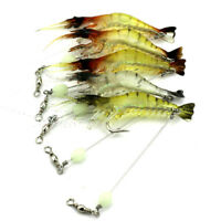 5Pcs Shrimp Bait Fishing Lures Soft Lures Plastic Luminous Fishing Bait w/Hooks