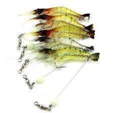 10pcs Soft Shrimp Bait Luminous Silicone Prawn Fishing Lures Hook Bait Saltwater