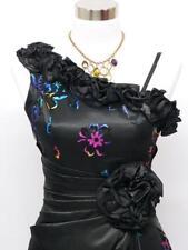 SATIN Neuf ! Robe Longue Noir et Multicolore T 42 / 44  Cérémonie Mariage Soirée