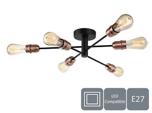 Modern 6 Lights Ceiling Light, Black with Copper Finish, E27/ES Cap Type