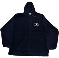 Mens Large Vintage Syracuse Orangemen Blue Fleece Hooded Full Zip