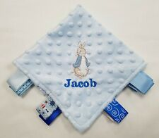 Personalised Peter Rabbit taggy comfort blanket with a name baby gift