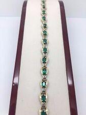 EMERALD & DIAMOND YELLOW GOLD LADIES 10K BRACELET