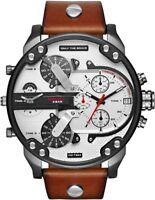 Diesel Original Men's DZ7394 MR DADDY 2.0 Gunmetal IP Brown Leather Strap Watch