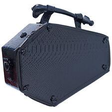Kreepsville 666 Black Skull Studded Croc Coffin Purse Bag