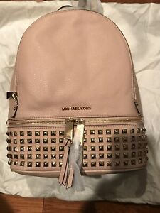 NWT michael kors Medium Studded Back Pack In Ballet Pink