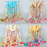 Women Long Soft Silk Scarf Flower Printed Chiffon Scarf Wrap Shawl Scarf Acces