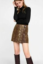Zara Small regular brown snakeskin faux leather wrap front skort mini skirt