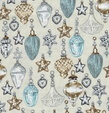 Balmoral Christmas Baubles & Stars on Stone Linen Look Fabric by Makower - FQ
