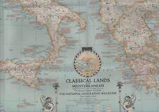 1940 ITALIA JUGOSLAVIA GRECIA Sardegna Mediterraneo mappa di grandi dimensioni 90x66 cm W2.123