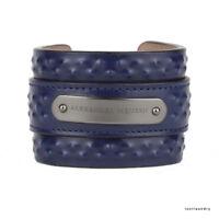 Alexander McQueen Midnight Navy Blue Studded Leather Wide Cuff Bracelet