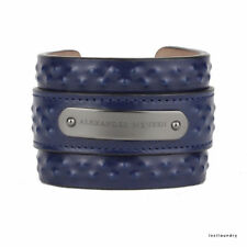 Alexander McQueen Minuit Bleu Marine cloutées en cuir large Cuff Bracelet