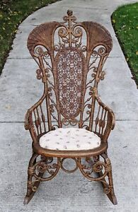 1800s Antique Ornate Wicker Rocking Chair Prop ATTR Heywood Wakefield 19th Cent.