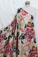100% Charmeuse Silk Fabric Bold Flower M51 Per Yard