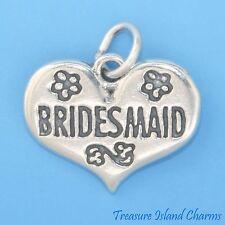 Bridesmaid Heart Bride Wedding 925 Sterling Silver Charm Pendant Engravable