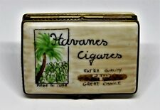 "LIMOGES BOX - CUBAN CIGAR BOX - PALM TREE & TOBACCO PLANTS - ""HAVANES CIGARES"""