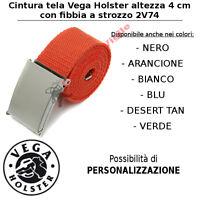 Cintura in tela canapa Vega Holster cm 4 2V74 ARANCIONE chiusura a strozzo
