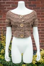 Anthropologie *SLEEPING ON SNOW* Brown CHANGELING Cropped CARDIGAN SWEATER XS