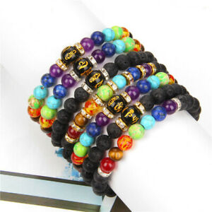 7 Chakra Crystal Beaded Bracelet Lava Yoga Reiki Prayer Stone Bangle Jewelry