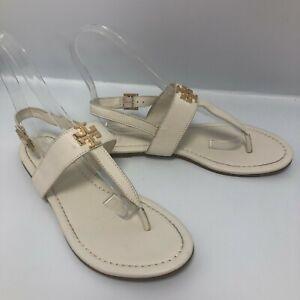 Tory Burch Sandals UK 7 US 9.5 Cream Ivory Leather Thong Toe Flat Summer 2006