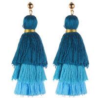 Fashion Women Rhinestone Hollow Flower Drop Long Tassel Earrings Ear Stud Dangle