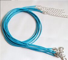 "1mm WAXED LEATHER AZZURRO Collana Girocollo Corda Catena Per Ciondolo 20"" Cord UK LT"
