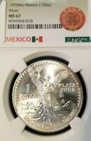 1990 MEXICO SILVER LIBERTAD 1 ONZA NGC MS 67 VERY HIGH GRADE GEM BU BLAZER !!!