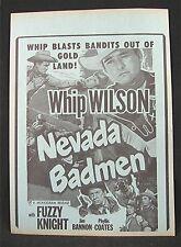 1951 Nevada Badmen Old Movie Poster Broadside Whip Wilson Fuzzy Knight J Bannon
