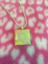 Scrabble Shimmer Necklace Pendant Lobster Clasp Kids Fashion Jewelery Floral
