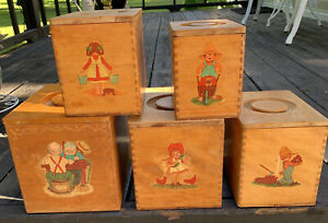 Vintage Japan Wood Nesting Boxes Canisters Set of 5