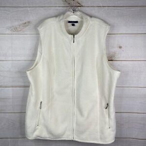 Karen Scott Zeroproof Fleece Women's Plus 2X Zip Pocket Vest Full Zip Cream NWT
