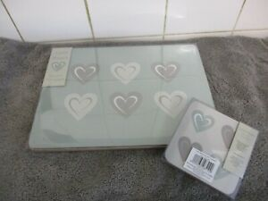 Love heart Grey  Placemats & Coasters Set of 4 Cork Backed
