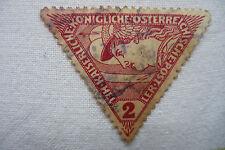 timbre ancien triangle Autriche 2 mercure 1917