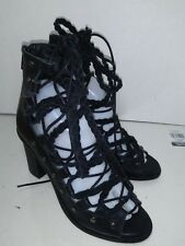 Free People Black Leather Laces Heels Womens Size 38 Made in Spain