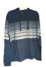 Burnside Mens Printed Striped Black/Gray Drawcord Hoodie Size 2XL
