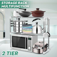 2 Tiers Oven Microwave Rack Stainless Steel Stand Storage Holder Kitchen Shelf