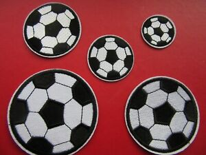 FOOTBALL IRON ON BADGE SEW ON PATCH APPLIQUE SOCCER BALL  X 1 PIECE 5 SIZES