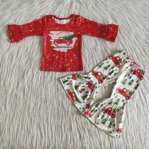 Holiday Outfit Set Baby Toddler Girl Christmas Car Tree Print Bell Bottom pants