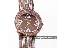 ladies elegant brown designer-style fashion dress watch white crystals bead