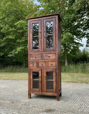 Vintage Solid Indian Wood Storage Cabinet With Drawers