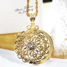 Cooper+18K Gold Filled Hollow-out Round Flower Magnifier Vintage Long Necklace