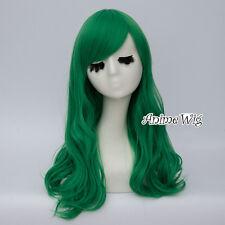 55CM Lolita Green Long Wavy Anime Heat Resistant Cosplay Hair Wig Christmas+Cap