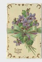 ANTIQUE POSTCARD VALENTINE GREETING BOUQUET OF VIOLETS GREEN RIBBON GOLD EMBOSSE