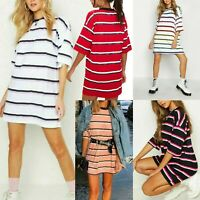 LADIES WOMENS ROUND NECK STRIPE OVER SIZE LONG TEE T-SHIRT TOP DRESS