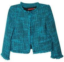 Alice + Olivia Coat Blazer Jacket Women Size L Blue Black Tweed Waist Length