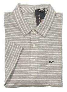 Vineyard Vines Men's Gray Heather Striped Linen Blend Short Sleeve Pocket Polo