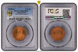 INDIA 1/4 ANNA 1935(C) (PCGS MS65RD) *FULLY RED GEM*