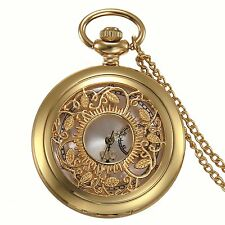 Antique Gold Tone Floral Patterned Quartz Pocket Watch Necklace Sweater Chain