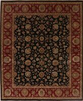 BLACK/BURGUNDY All-over Floral Assorted Agra Area Rug Oriental Wool Carpet 8x10